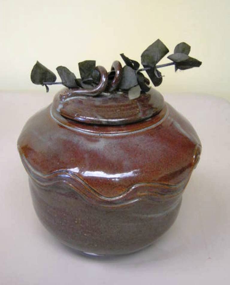 Image Marion Lyon-Covered Vessel with Eucalyptus