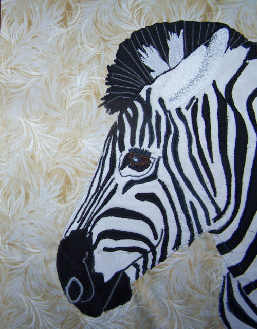 Image Jan Queijo-Zebra detail from Baby, It's a Jungle Out There quilt