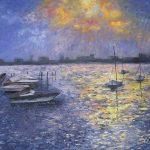 Boston Harbor, Oil on Canvas