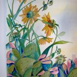 Texas Sunflowers and Cacti, Watercolor