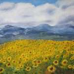 Sunflowers in France, Oil on Canvas