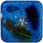 Blue Gold Feathers Resin Coaster-Deb Giordano