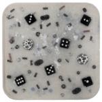 Dice Beads Silver Resin Coaster-Deb Giordano