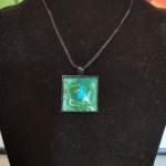 Green Blue Glass Pendant-Alicia Drakiotes